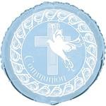Foil Balloon - Dove Cross Blue Communion - 18''