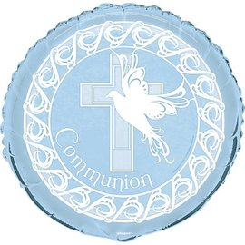 Foil Balloon - Dove Cross Blue Communion - 18''