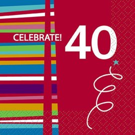Beverage Napkins-40th Birthday Celebration-Discontinued