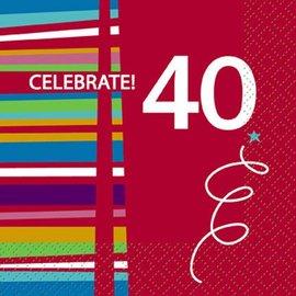 Napkins-BEV- 40th Birthday Celebration- 16pk/2ply - Discontinued