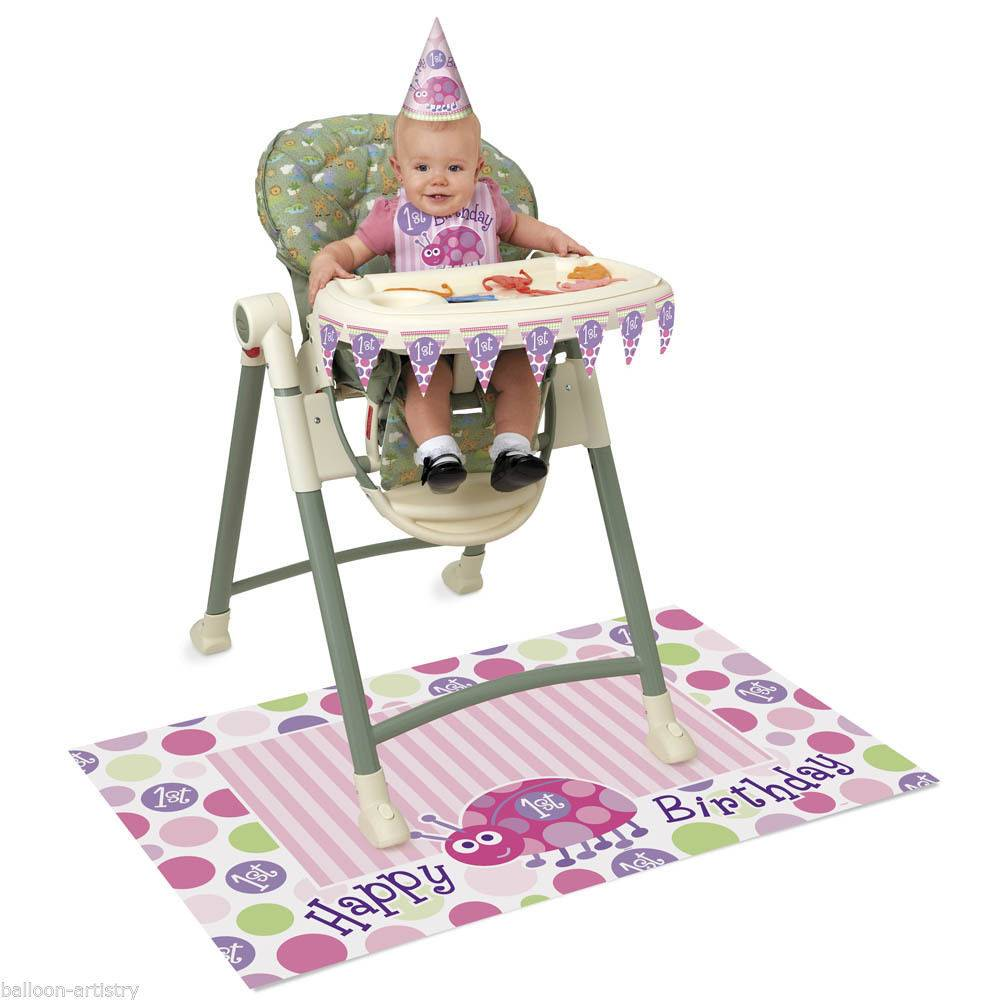 High Chair KIt Happy 1st Birthday Ladybug 1pkg