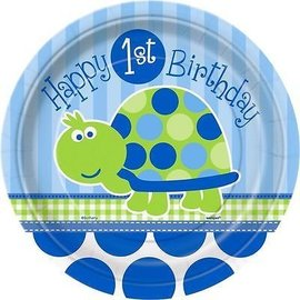 Plates-BEV-Happy 1st Birthday Turtle-8pkg-Paper - Discontinued