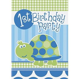 Invitations-1st Bday Turtle-8pk