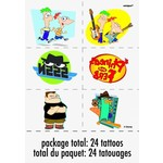 Temporary Tatoos-Phineas and Ferb-1pkg-4 Sheets (Discontinued)