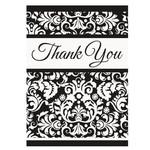 Thank You Cards-Damask-Black-8pk
