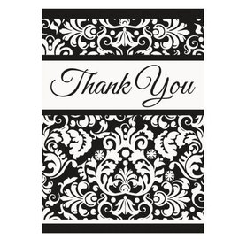 Thank You Cards-Damask-Black-8pk