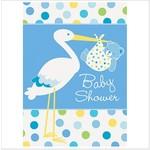 Invitations-Baby Boy Stork-8pk