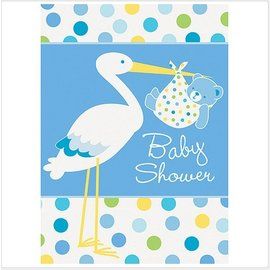 Invitations-Baby Boy Stork-8pk
