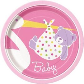 Beverage Plates-Baby Girl Stork-8pk-Paper - Discontinued