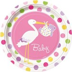Luncheon Plates-Baby Girl Stork-9pk-Paper - Discontinued