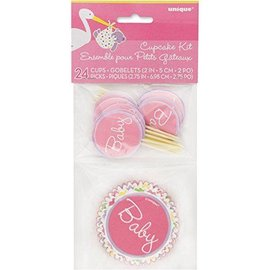 "Cupcake Kit- Pink Baby Shower- 24pk/2"" & 2.75"""