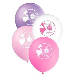 Balloons-Latex-Baby Girl Stork-8pk