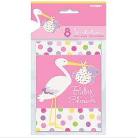 Invitations-Baby Girl Stork-8pk