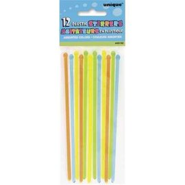 Plastic Stirrers- Assorted Colours- 12pk