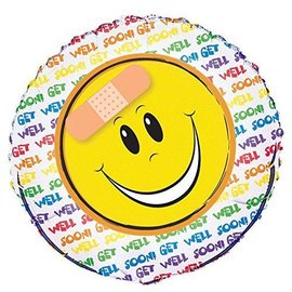 Foil Balloon - Get Well Happy Face - 18''