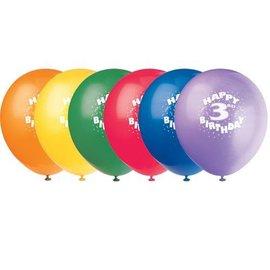 Balloons-Latex-Happy 3rd bday-12'' (6pk)