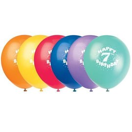 Balloons-Latex-Happy 7th Bday-12'' (6pk)