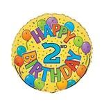 Foil Balloon - Festive 2nd Birthday - 18''