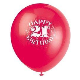 Balloons - Latex - Happy 21st Bday - 12'' (6pk)