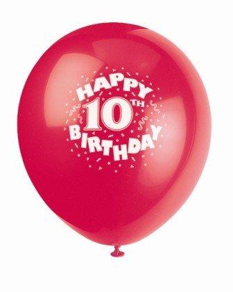 Balloons Latex Happy 10th Bday 12 6pk