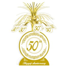 Centerpiece - Foil Cascade - Golden 50th Anniversary - 1pkg - 13""