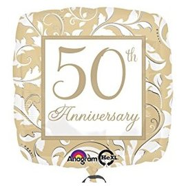 Foil Balloon - Gold Scroll 50th Anniversary - 18""