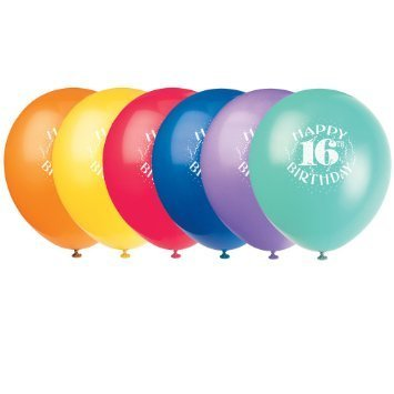 Balloons Latex Happy 16th Birthday 12 6pk