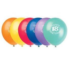 Balloons-Latex-Happy 18th Bday-12'' (6pk)
