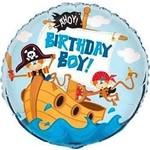 Foil Balloon - Pirate Ahoy Birthday Boy - 18''