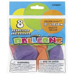 Balloons-Latex-Assorted Pastel Pearlized-12''-8pk
