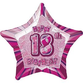 Foil Balloon - Happy 18th Pink Star - 20''