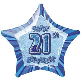 "Foil Balloon - Star - Happy 21st Birthday - Blue - 20"""