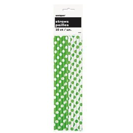 Paper Straws- Green & White Dots- 10pk/8""