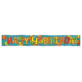 Banner-Happy 4th Birthday-Foil-12Ft