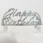 Tiara- Happy Birthday Silver Lettering-Plastic