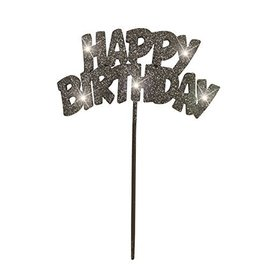 Cake Topper-Flashing-Happy Birthday-Black-1pc