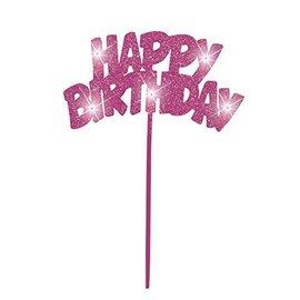 Cake Topper-Flashing-Happy Birthday-Pink-1pc