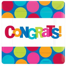 Plate-BEV-Congrats-8pk-Paper - Discontinued/Final Sale