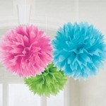 Paper Fluffy Decorations 3pc