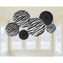 Paper Fan Decoration- Zebra-6pk