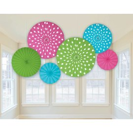 Paper Fan Decoration-Dots Multi Color-6pk