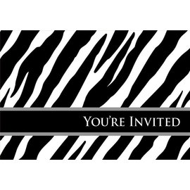 Invitations-Zebra oh so fabulous-8pk