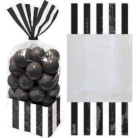 Favour Bags-Cello-Stripe-Black-10pk/10.75'' x 3.3''