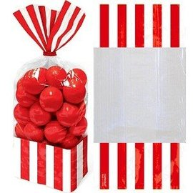 Favour Bags-Cello-Stripe-Red-10pk/10.75'' x 3.3''