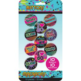 Button Kit-  I Love The 80's-10pk/ 1 11/16''