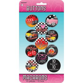 Button Kit- 50's Rock-10pk