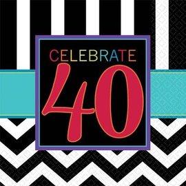 Beverage Napkins-40th Celebration- Discontinued