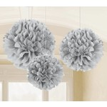 Paper Fluffy Decorations- silver-3pk