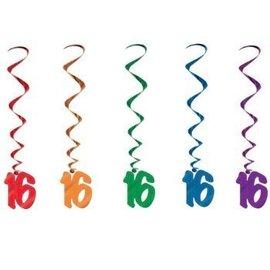 Danglers-Foil Swirl-Assorted 16th Birthday-5pkg-3ft