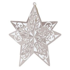 Cutout-3D-Silver Glittered Star-1pkg-12""